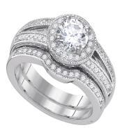 1.33 CTW Diamond Halo Bridal Engagement Ring 14KT White Gold