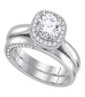 1.45 CTW Diamond Bridal Wedding Engagement Ring 14KT White Gold