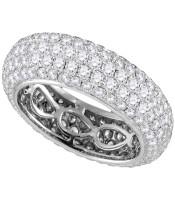 3.35 CTW Pave-set Diamond Comfort Wedding Ring 14KT White Gold