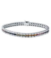 5.35 CTW Multi-Color Sapphire & Diamond Bracelet 14K White Gold