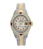 Rolex Pre-owned 26mm Womens Custom String White MOP Two Tone