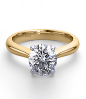 14K 2Tone Gold 1.13 ctw Natural Diamond Solitaire Ring