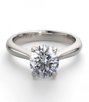 14K White Gold 1.24 ctw Natural Diamond Solitaire Ring