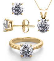 14K Yellow Gold 3.0CTW Natural Diamond Ring, Earrings, Necklace JEWELRY SET