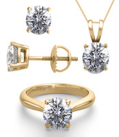 14K Yellow Gold 6.0CTW Natural Diamond Ring, Earrings, Necklace JEWELRY SET