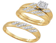 0.28 CTW His & Hers Diamond Solitaire Matching Bridal Ring 10KT Yellow Gold