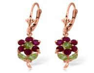 Genuine 2.12 ctw Peridot & Ruby Earrings 14KT White Gold