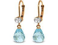 Genuine 4.53 ctw Blue Topaz & Diamond Earrings 14KT Rose Gold
