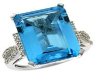 Natural 12.14 ctw Swiss-blue-topaz & Diamond Engagement Ring 10K White Gold