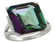 Natural 12.13 ctw Mystic-topaz & Diamond Engagement Ring 10K White Gold