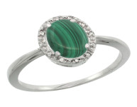 Natural 1.69 ctw Malachite & Diamond Engagement Ring 10K White Gold