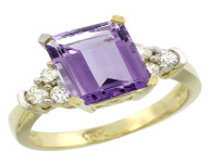 Natural 2.86 ctw amethyst & Diamond Engagement Ring 14K Yellow Gold