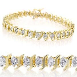8 CTW Diamond Bracelet 14KT Yellow Gold