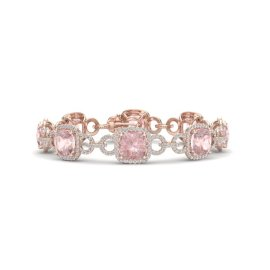 22 CTW Morganite & Diamond Bracelet 14KT Rose Gold