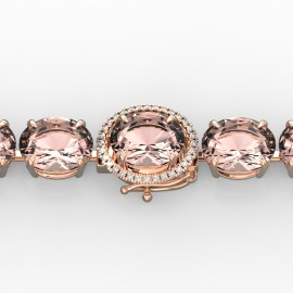 67 CTW Morganite & Diamond Bracelet 14KT Rose Gold