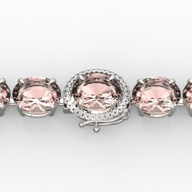 67 CTW Morganite & Diamond Bracelet 14KT White Gold