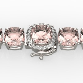 35 CTW Morganite & Diamond Bracelet 14KT White Gold
