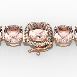 35 CTW Morganite & Diamond Bracelet 14KT Rose Gold