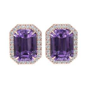 9.4 CTW Amethyst & Diamond Earrings 14KT Rose Gold