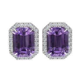 9.4 CTW Amethyst & Diamond Earrings 18KT White Gold