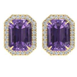 9.4 CTW Amethyst & Diamond Earrings 18KT Yellow Gold