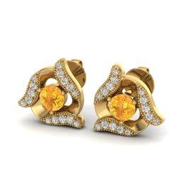 0.80 CTW Citrine & Diamond Earrings 18KT Yellow Gold