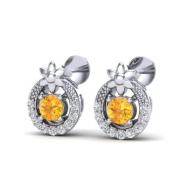 0.40 CTW Citrine & Diamond Earrings 18KT White Gold