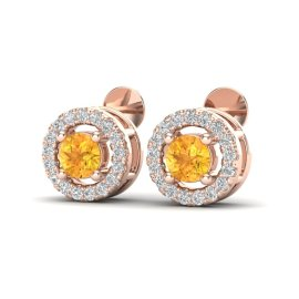0.75 CTW Citrine & Diamond Earrings 14KT Rose Gold