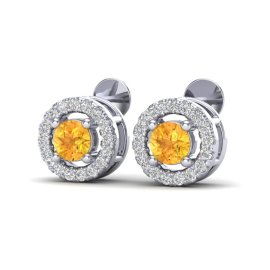 0.75 CTW Citrine & Diamond Earrings 18KT White Gold