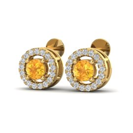 0.75 CTW Citrine & Diamond Earrings 18KT Yellow Gold