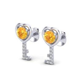0.60 CTW Citrine & Diamond Earrings 14KT White Gold