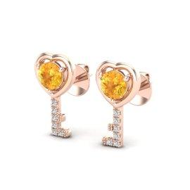 0.60 CTW Citrine & Diamond Earrings 14KT Rose Gold