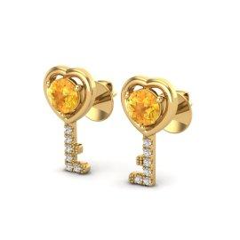 0.60 CTW Citrine & Diamond Earrings 14KT Yellow Gold