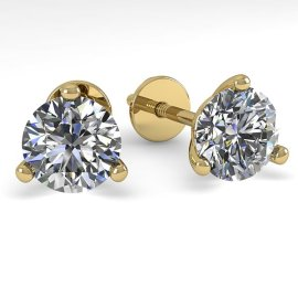 1.0 CTW Diamond Earrings 14KT Yellow Gold