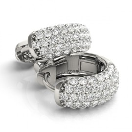 1.0 CTW Diamond Earrings 14KT White Gold