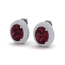 9 CTW Garnet & Diamond Earrings 18KT White Gold