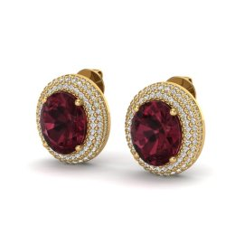 9 CTW Garnet & Diamond Earrings 18KT Yellow Gold