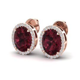 5.5 CTW Garnet & Diamond Earrings 14KT Rose Gold