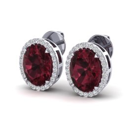 5.5 CTW Garnet & Diamond Earrings 18KT White Gold