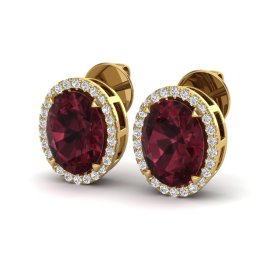 5.5 CTW Garnet & Diamond Earrings 18KT Yellow Gold
