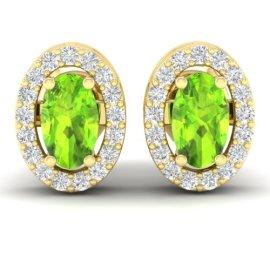 0.75 CTW Peridot & Diamond Earrings 18KT Yellow Gold
