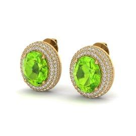 9 CTW Peridot & Diamond Earrings 18KT Yellow Gold