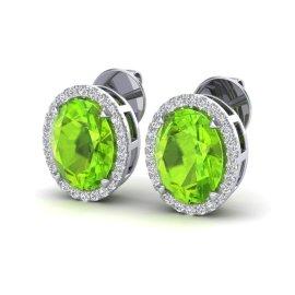 5.5 CTW Peridot & Diamond Earrings 18KT White Gold