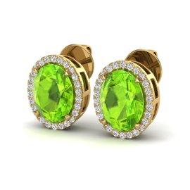 5.5 CTW Peridot & Diamond Earrings 18KT Yellow Gold