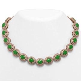 101.75 CTW Jade & Diamond Necklace 14KT Rose Gold