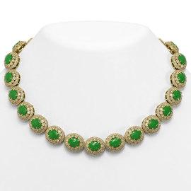 101.75 CTW Jade & Diamond Necklace 14KT Yellow Gold