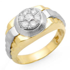 0.50 CTW Diamond Men's Ring 18KT 2-Tone Gold