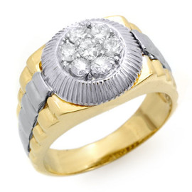 0.75 CTW Diamond Men's Ring 18KT 2-Tone Gold