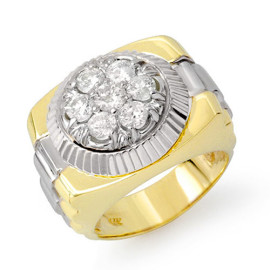 1.50 CTW Diamond Men's Ring 18KT 2-Tone Gold