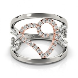 0.50 CTW Diamond Ring 14KT White & Rose Gold